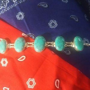 Beautiful Turquoise & Sterling Bracelet 925